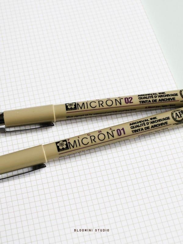 pigma-micron-pointe-01-02-stylo-micron-noir-Sakura-Pigma-Micron-gel-pen-bullet-journal-bloomini-studio
