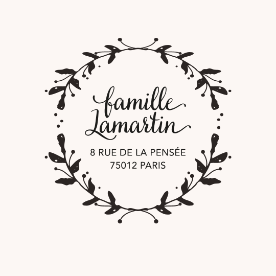 Tampon adresse famille rond